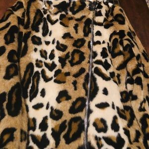 International concept women Leopard fur coat
